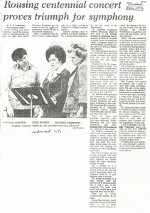Leonard Atherton, Terri Pothier, and Maureen Forrester look over music on stand. Newspaper article titled