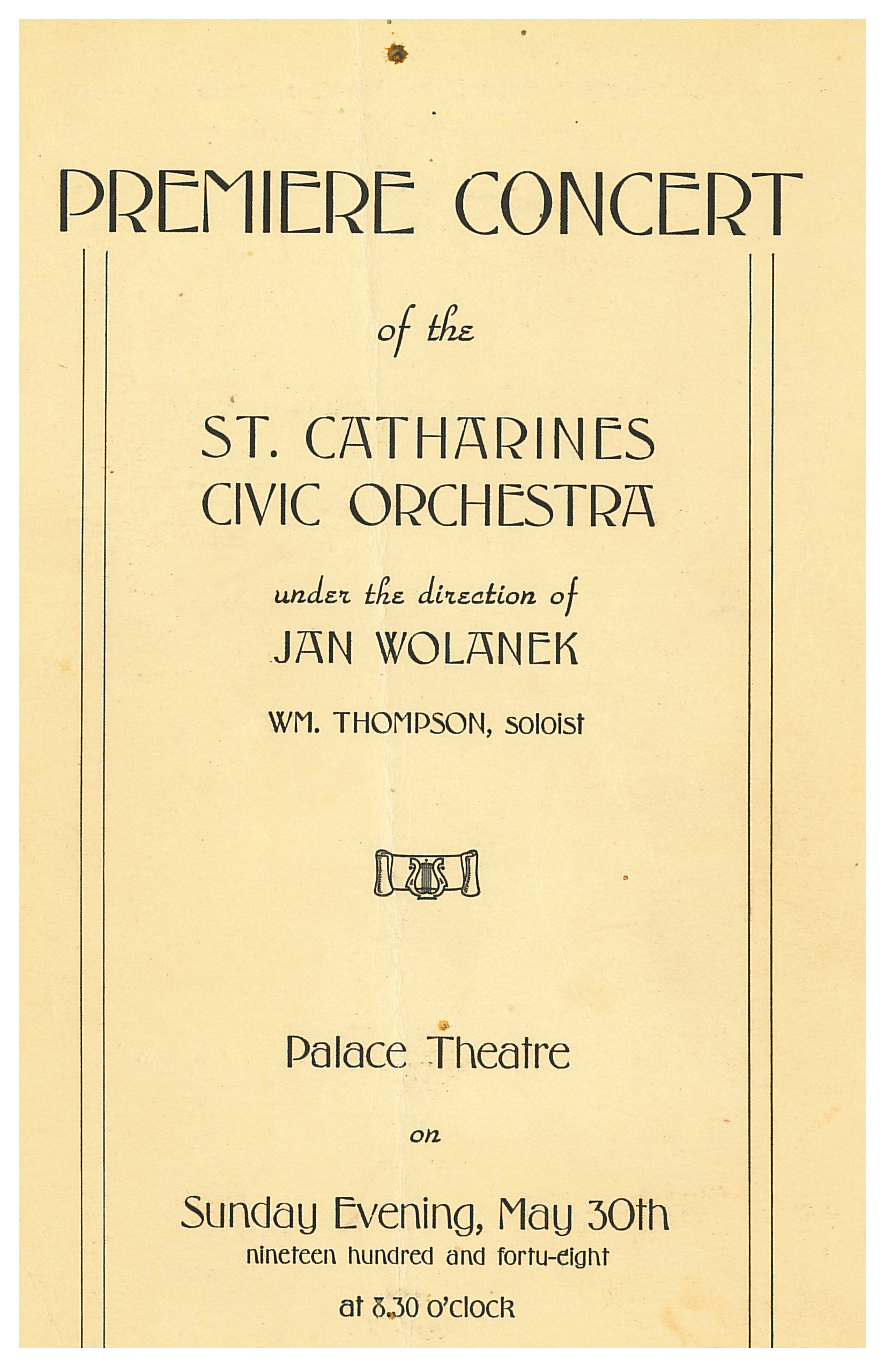 Programme cover of first concert
