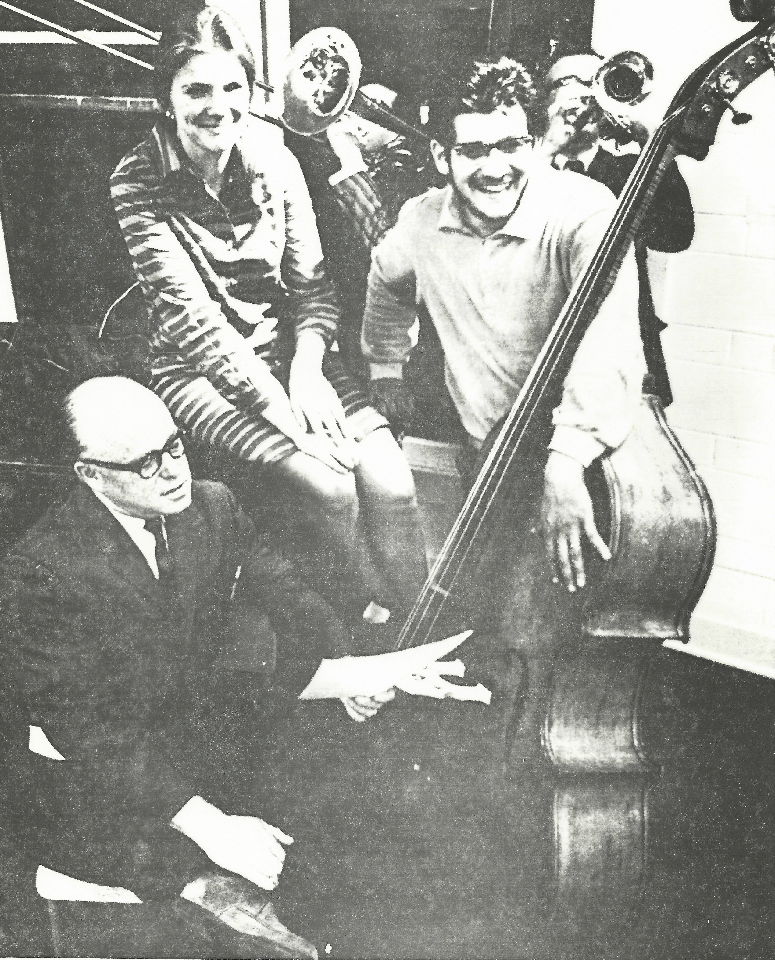 Albert Jarvis, Judy MacLachlan and Milton Barnes with double bass
