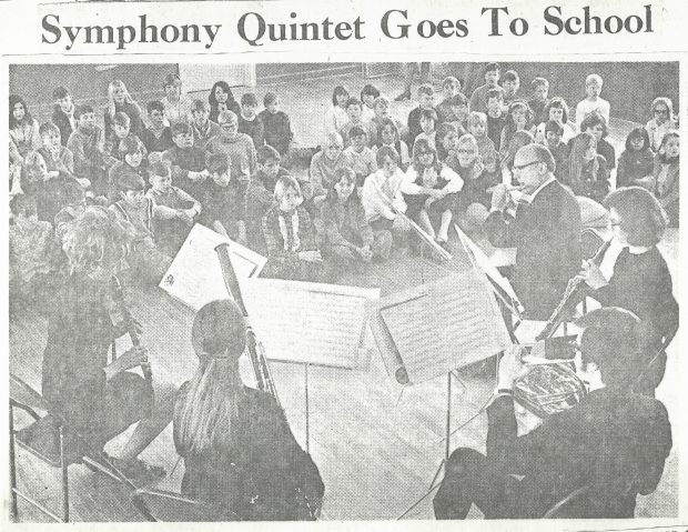 """5 wind players perform for students. Newspaper article titled """"Symphony Quintet Goes to School"""""""
