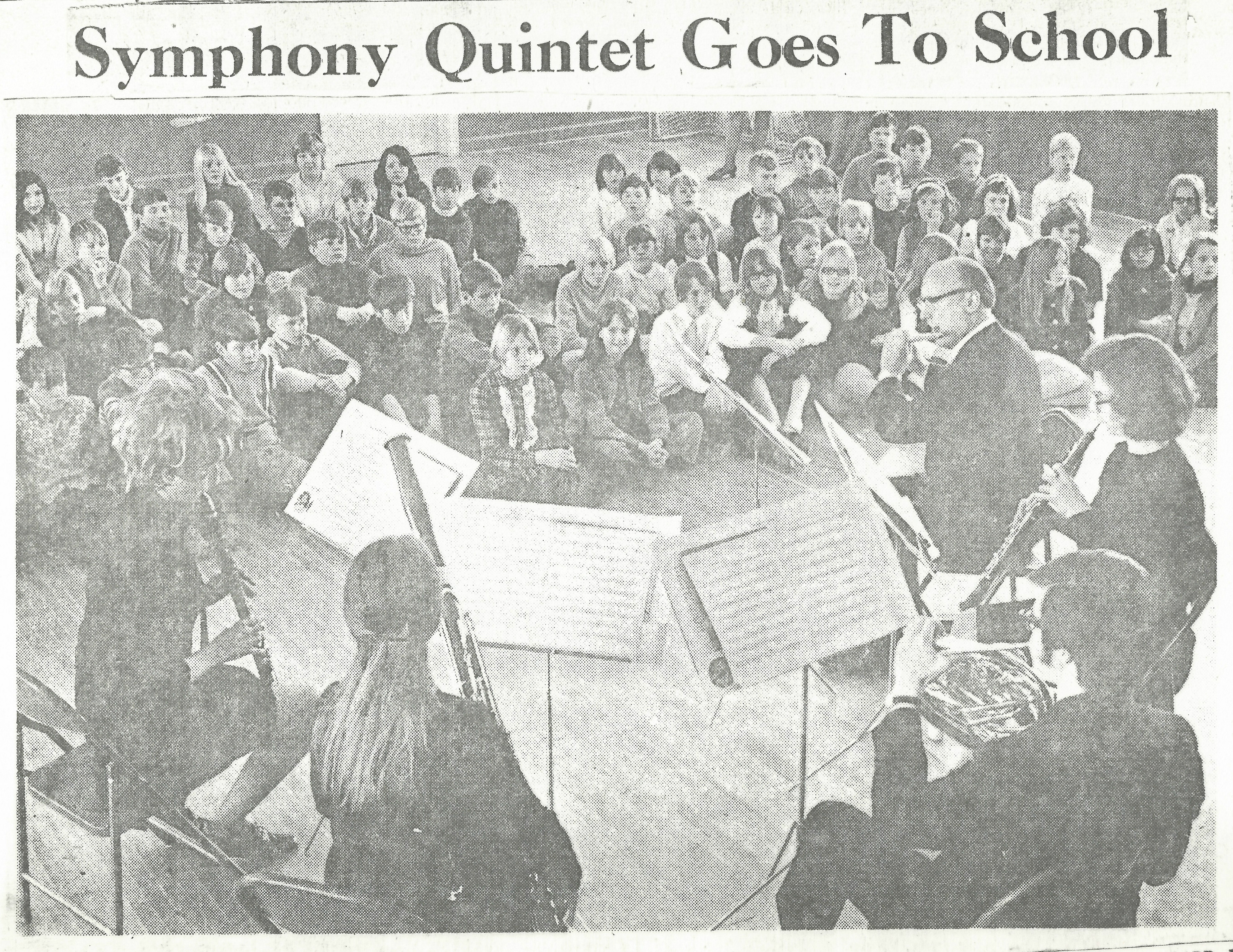 "5 wind players perform for students. Newspaper article titled ""Symphony Quintet Goes to School"""