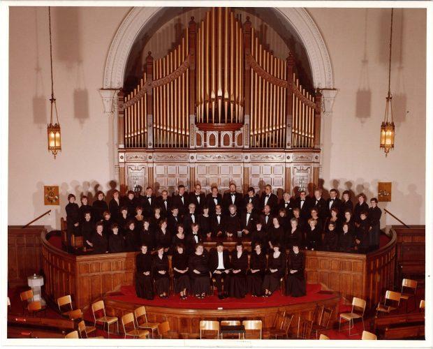 Choir poses in church