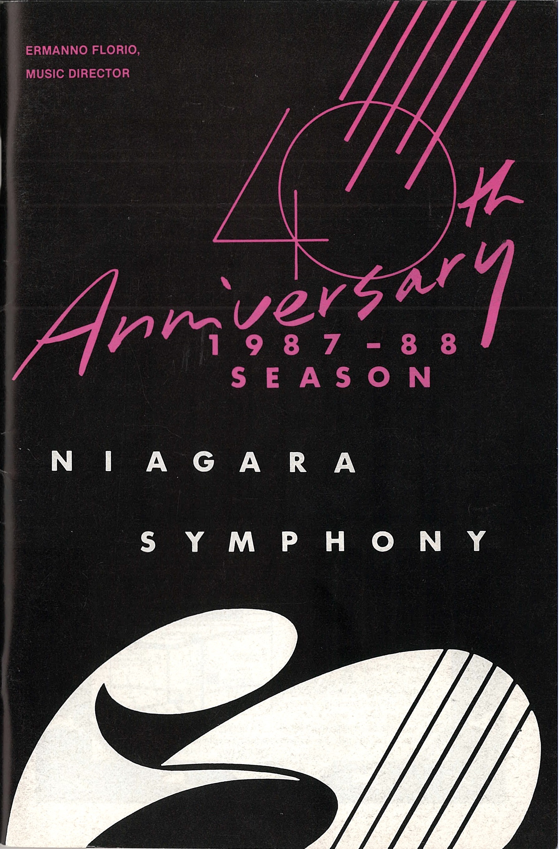Black, white and pink 40th Anniversary programme