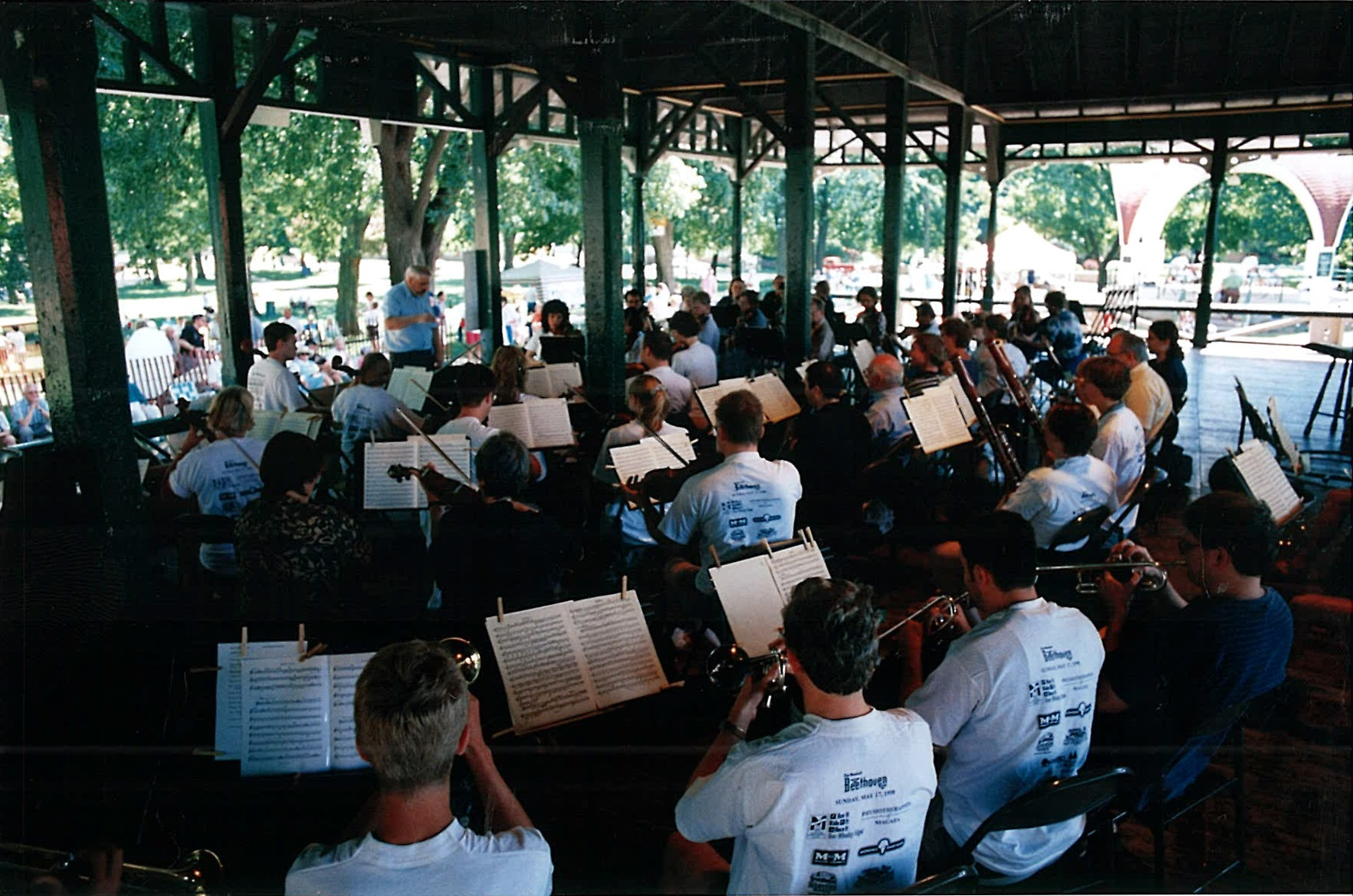 Orchestra from behind playing in bandshell