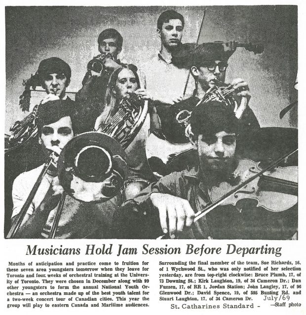 7 students chosen for national youth orchestra playing instruments. Newspaper article titled Musicians Hold Jame Session Before Departing