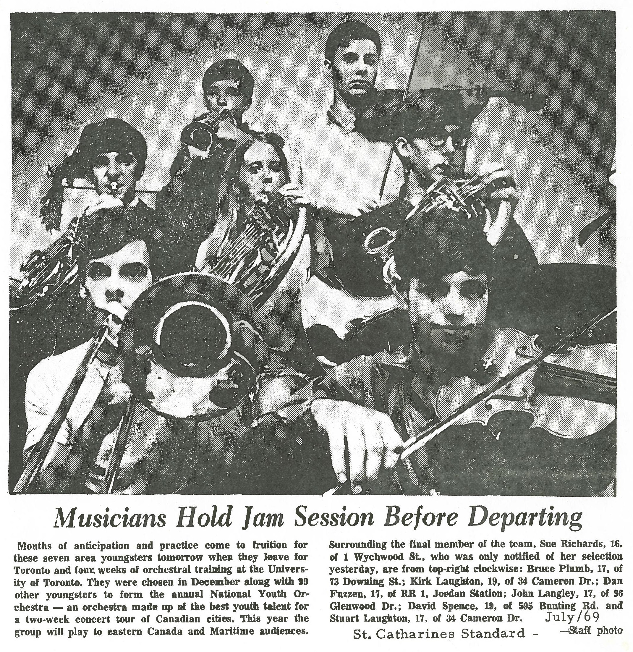 """7 students chosen for national youth orchestra playing instruments. Newspaper article titled """"Musicians Hold Jame Session Before Departing"""""""