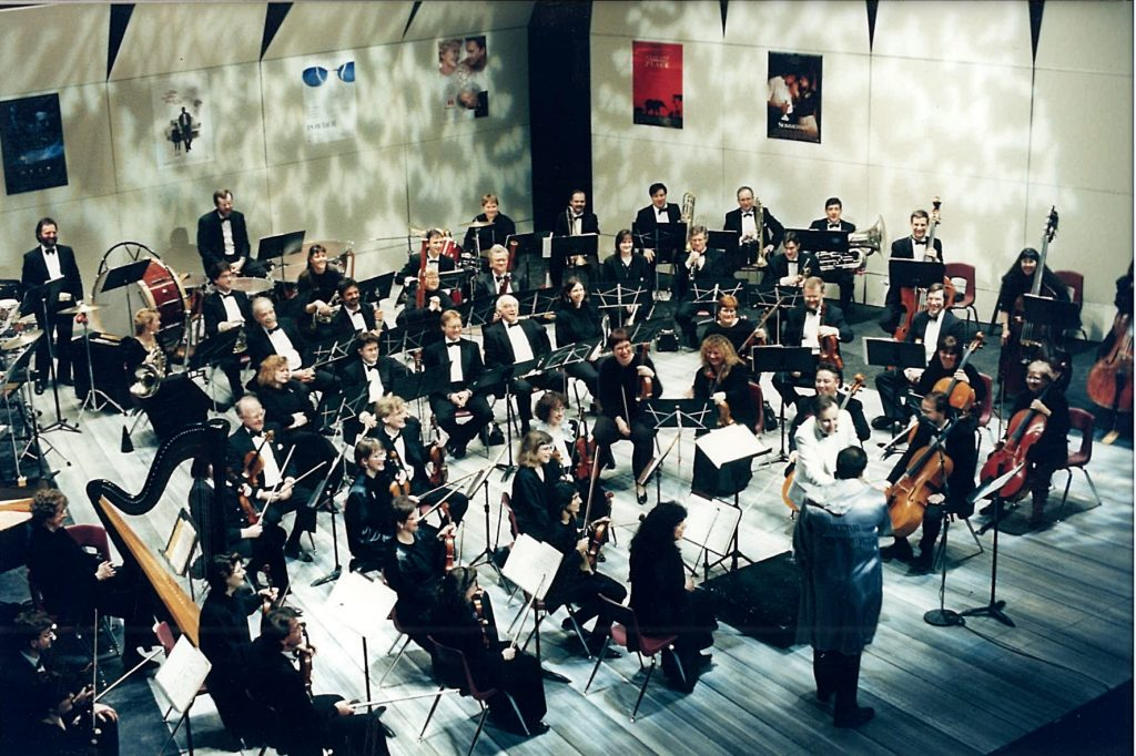 orchestra in concert white background