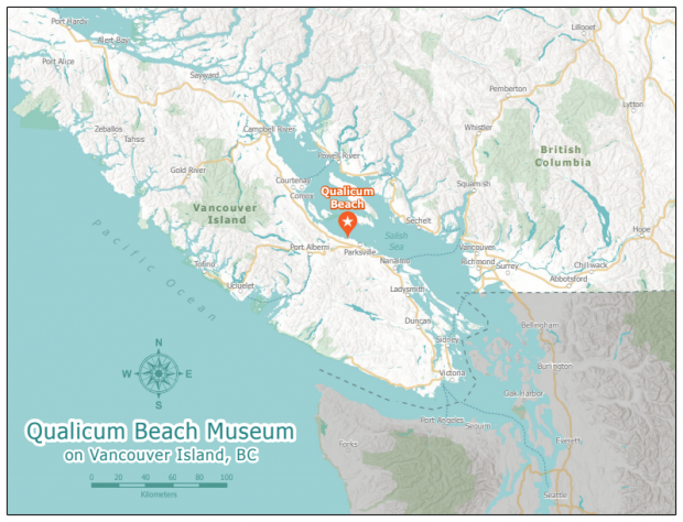 A map of Vancouver Island and the surrounding area, with Qualicum Beach highlighted by an orange marker.