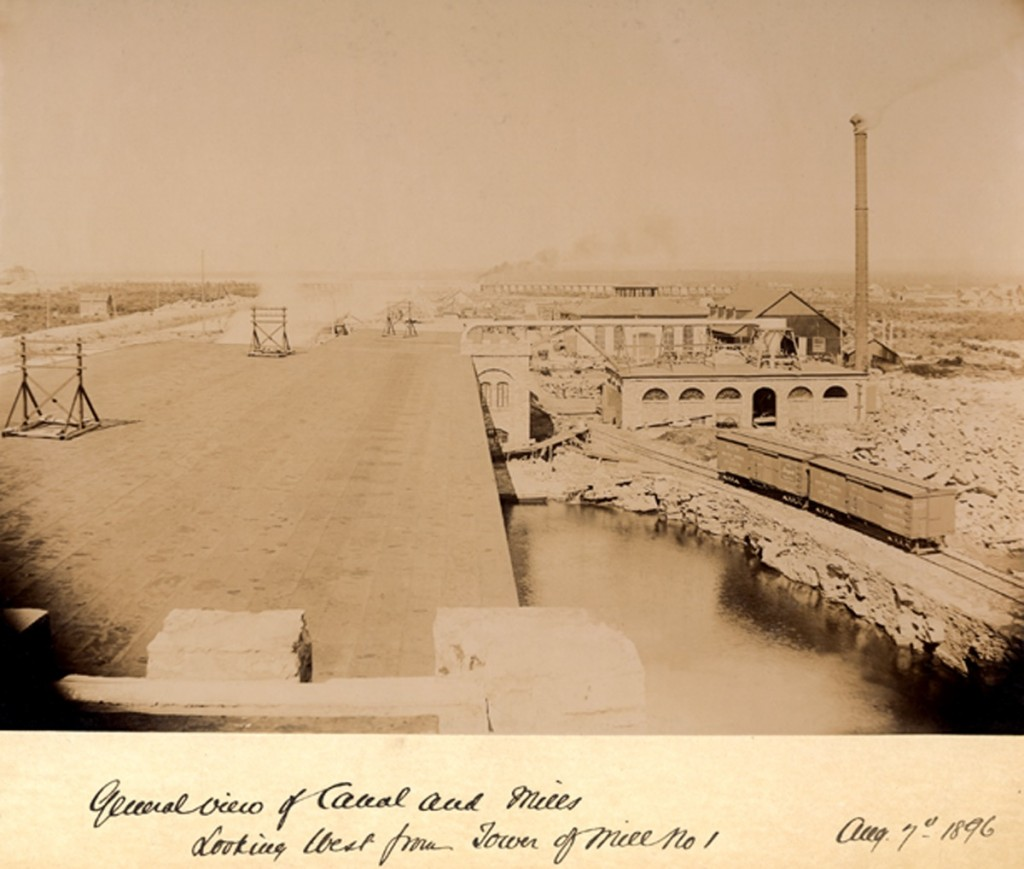 A birds eye view of the canal and mills. View is looking west from the Tower of Mill No. 1