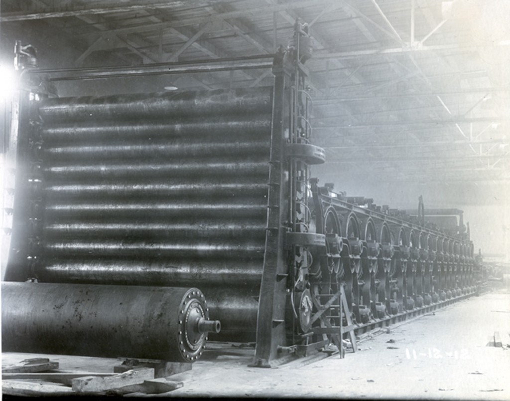 Roller machine disassembled in paper mill building