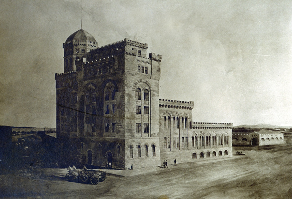 Drawing of the pulp tower with a carriage and people walking along a road in front of the tower