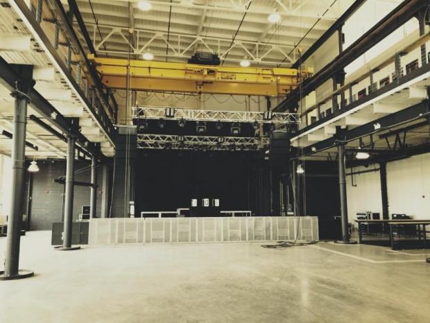 Inside shot of stage set-up for a concert