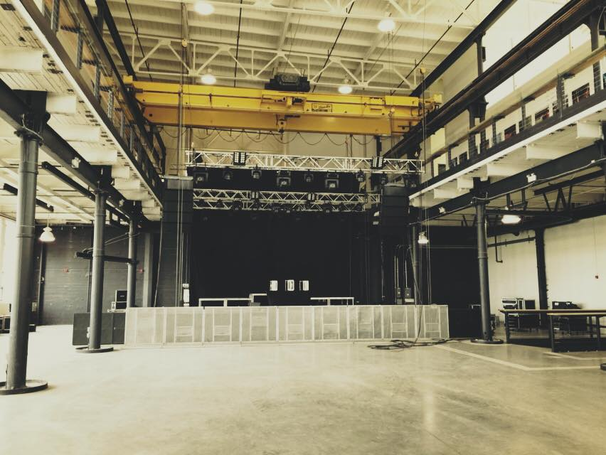Inside shot of stage set-up for a concert