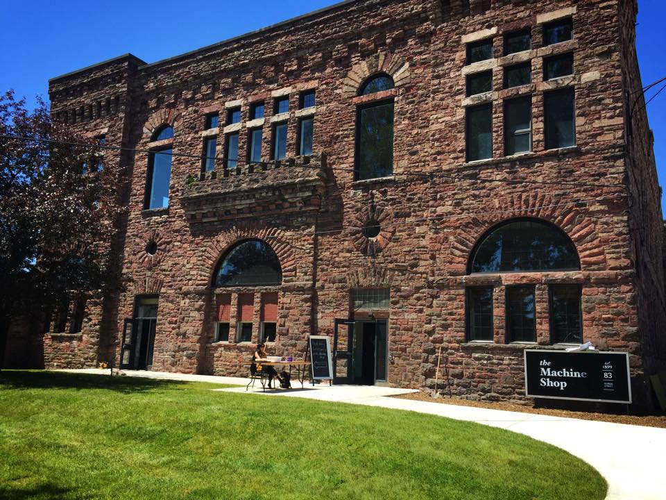 Exterior shot of the Machine Shop in summer