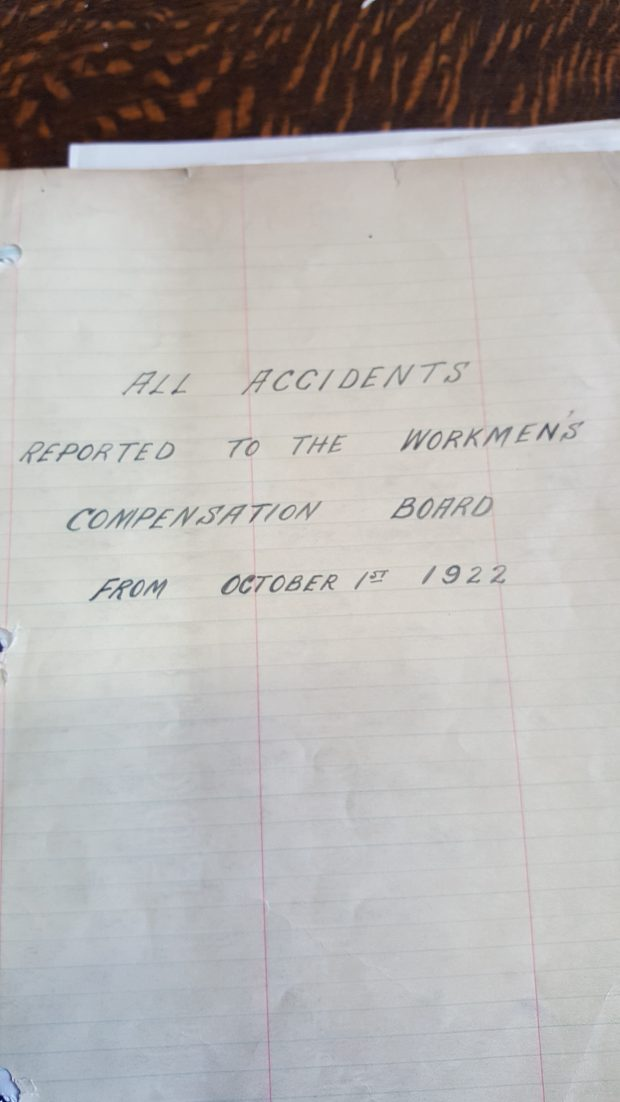 A handwritten note on a lined piece of paper. It reads, all accidents reported to the workmen's compensation board from October 1st 1922.