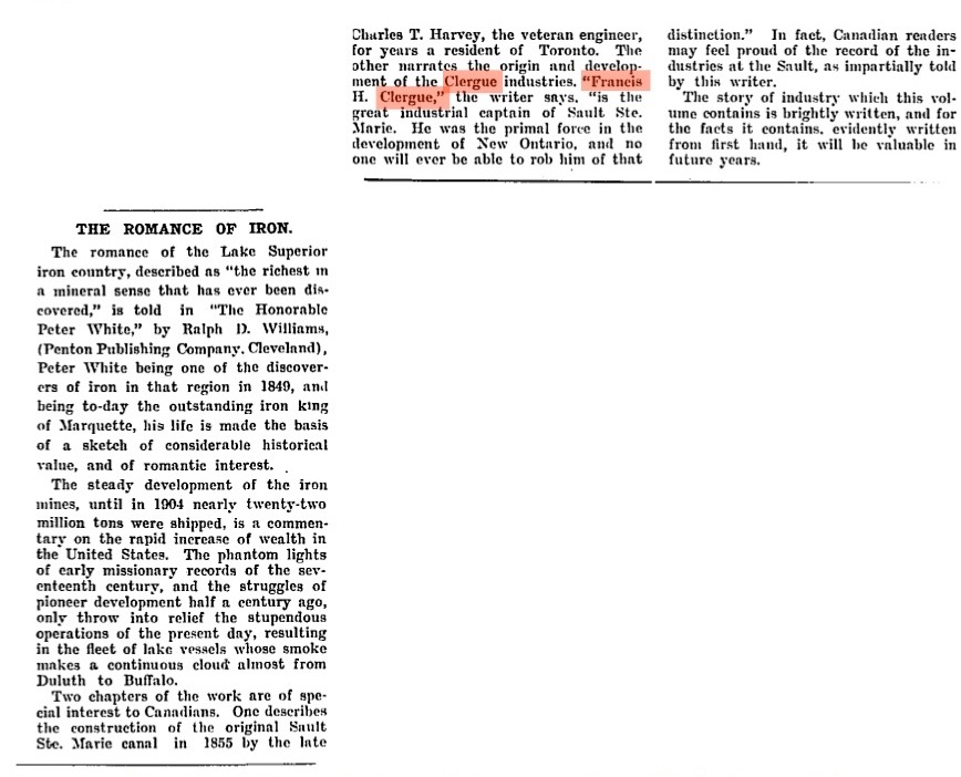 Newspaper article from the Globe, September 1905. It mentions Clergue as the great industrial captain of Sault Ste. Marie.