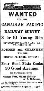 "A newspaper clipping of an advertisement looking to hire men of ""good character and attainments"" to work for the Canadian Pacific Railway Survey."