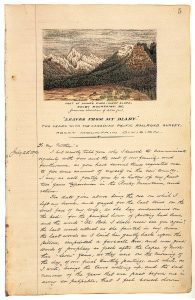 The first page of Robert M. Rylatt's journal. The page consists of a hand drawn and coloured image of a mountain scene with handwritten text in black ink below it.