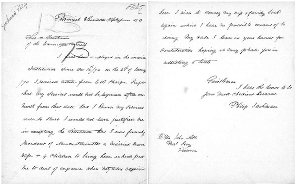 A facsimile of a handwritten letter addressed to the Executive Council signed by Philip Jackman. The letter expresses Jackman's dismay to being terminated from the Lunatic Asylum.