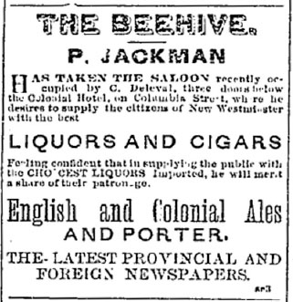 A newspaper clipping of an advertisement for The Beehive Saloon in the February 28, 1880 issue of the Mainland Guardian. The advertisement states that the saloon, which was recently purchased by P. Jackman, sells liquor, cigars, and newspapers.