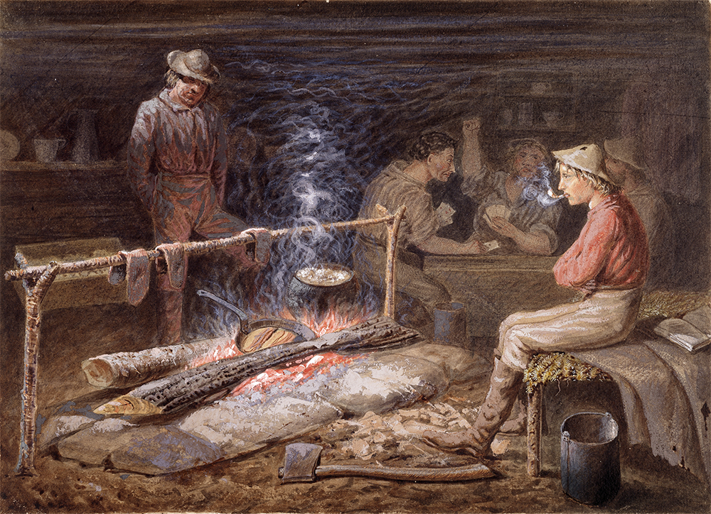 A painting of gold miners in a cedar cabin. Two individuals in the foreground are cooking over an open fire. Three men in the back are playing cards at a table.