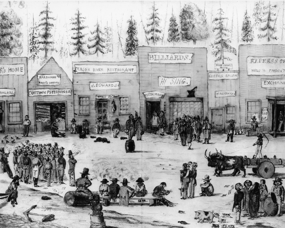 A hand drawn scene of the Derby townsite, circa 1859. The image shows a crowded commercial area with a row of various businesses in the background. People are standing around listening to a speaker, who is standing on a barrel in the centre of the image.