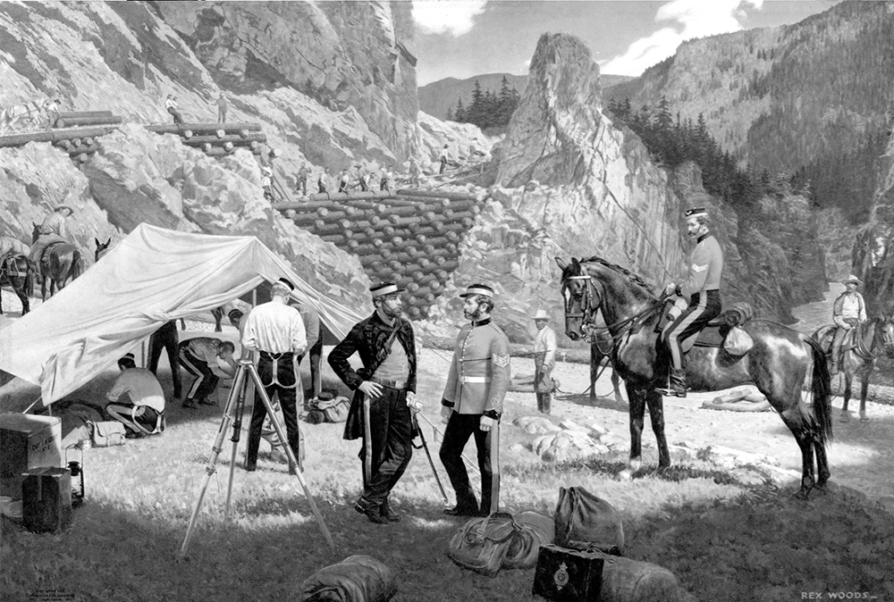 A painting of Royal Engineers and labourers constructing the Cariboo Road along a river canyon in 1862. There is a group of men under a canvas tent on the left side of the image, two Royal Engineers facing each other in the centre, and two men on horseback on the right side of the image. A wooden trestle bridge is being built in the background.