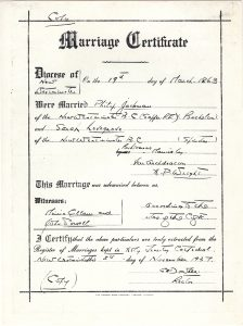 A marriage certificate facsimile for Philip Jackman and Sarah Ann Lovegrove, which was drafted in New Westminster, British Columbia. The certificate notes the date, location, officiant, and witnesses from the wedding ceremony.