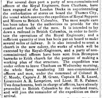 An 1858 newspaper clipping from The Cork Daily Reporter. The report discusses the departure of Royal Engineers and non-commissioned officers to Canada with their plans to begin development of a railway in British Columbia.