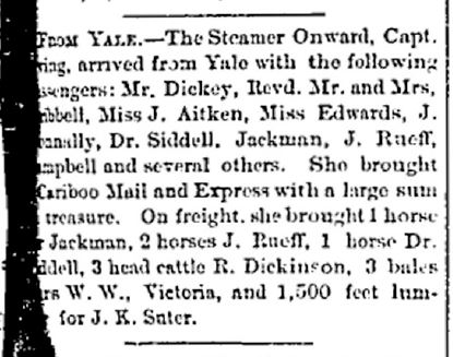 A newspaper clipping from the August 10, 1872 issue of the Mainland Guardian that lists Philip Jackman as having travelled from Yale to New Westminster on the steamship Onward.