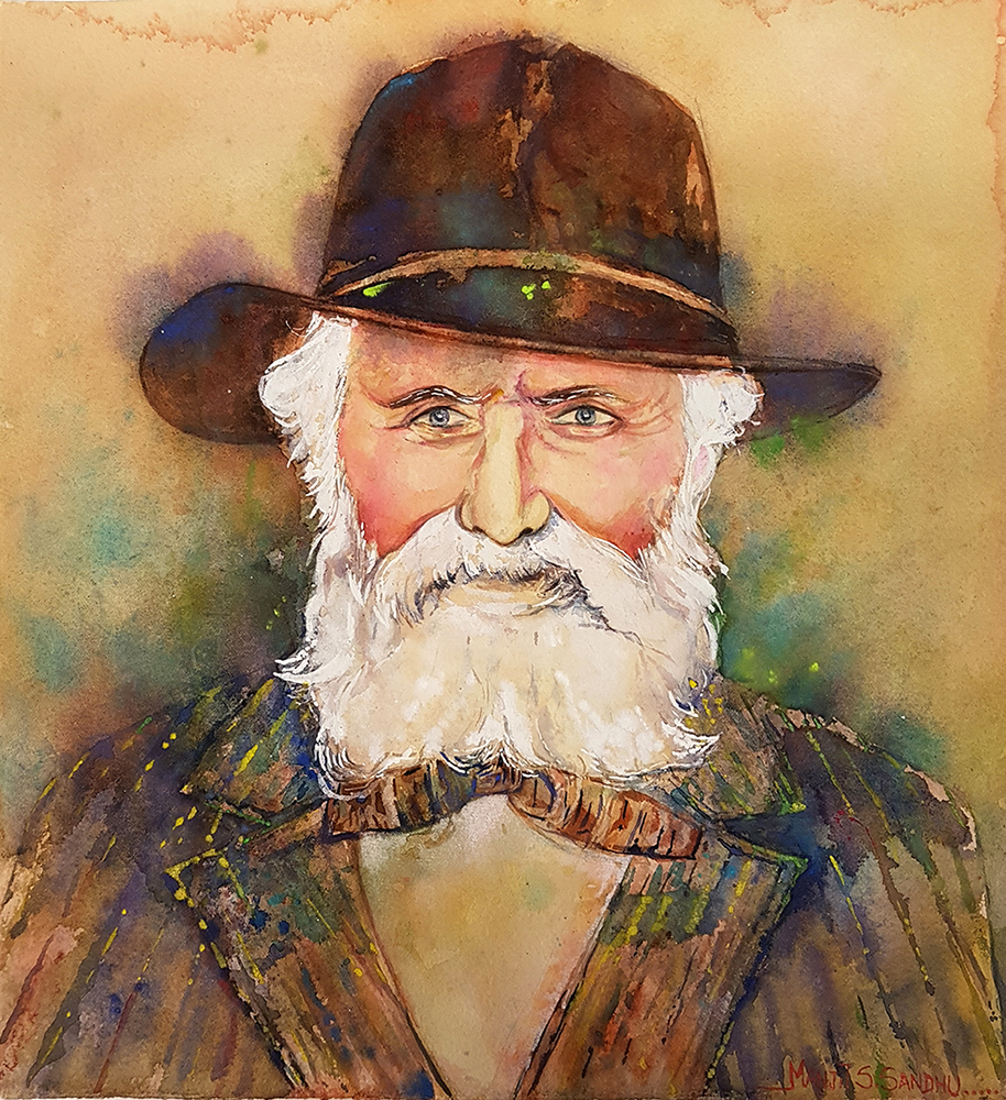 A watercolour bust portrait painting of a bearded elderly man wearing a brown brimmed hat.