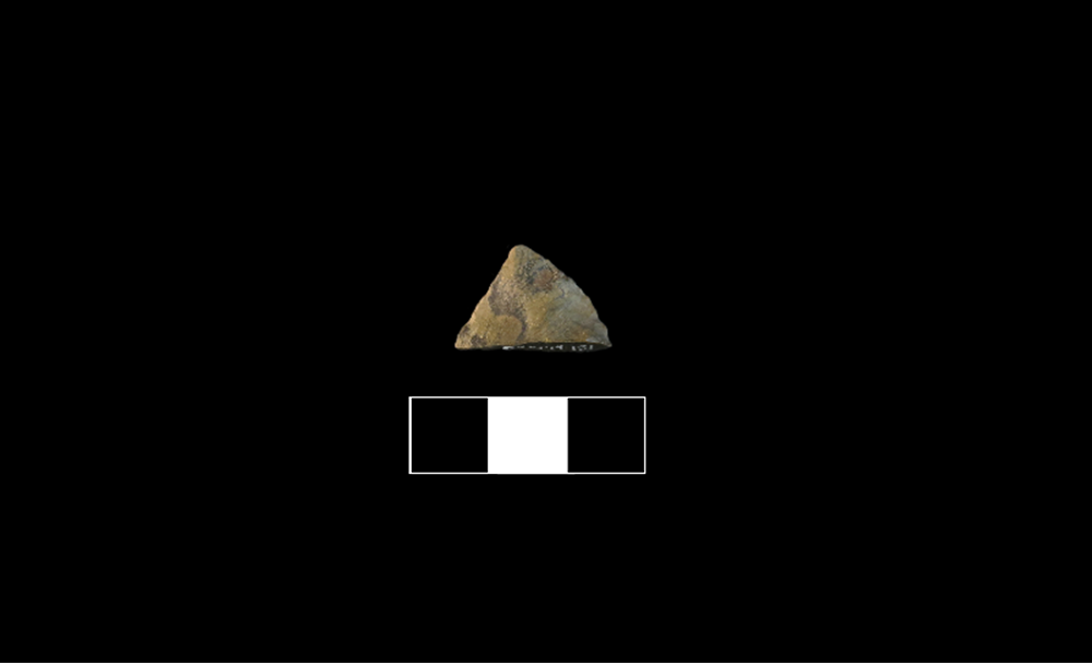 Fragment of a stone tool made with grey chert that has been modified on both sides.