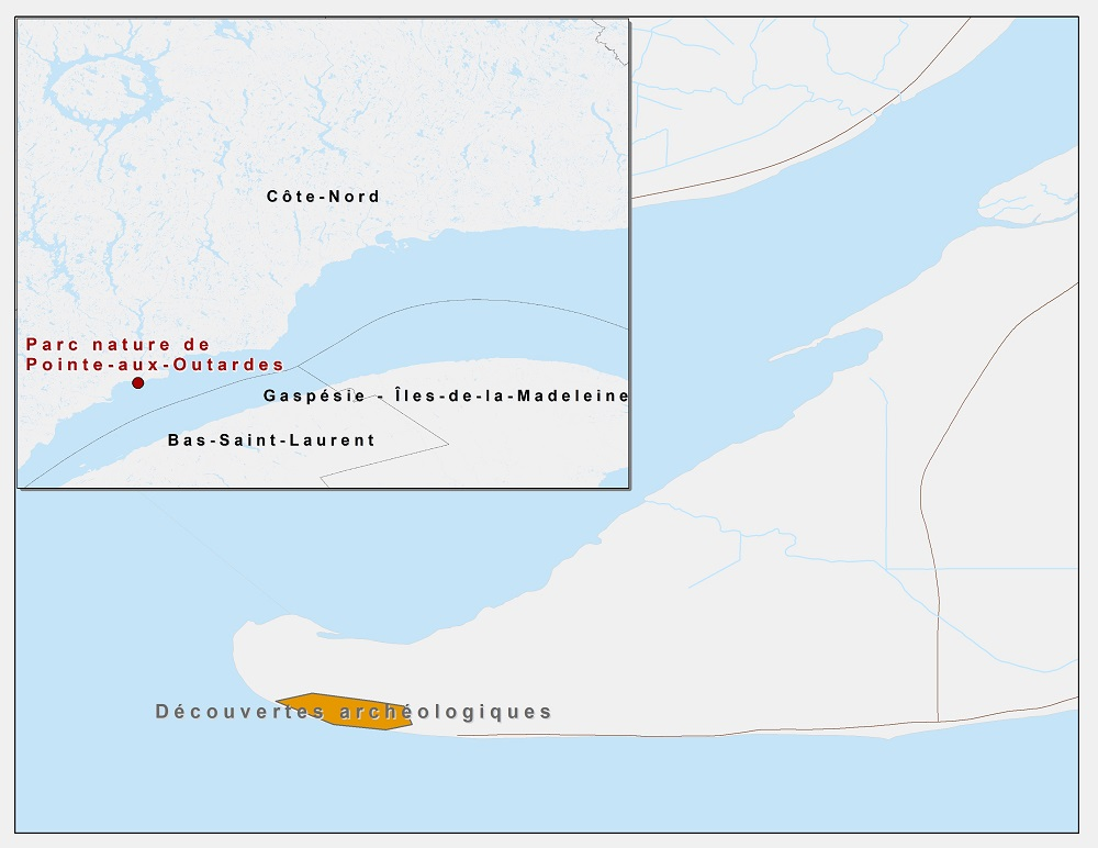 Map locating the discovery area on Pointe et Pointe-aux-Outardes in eastern Quebec