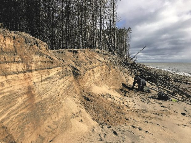 Sand bank destroyed by erosion