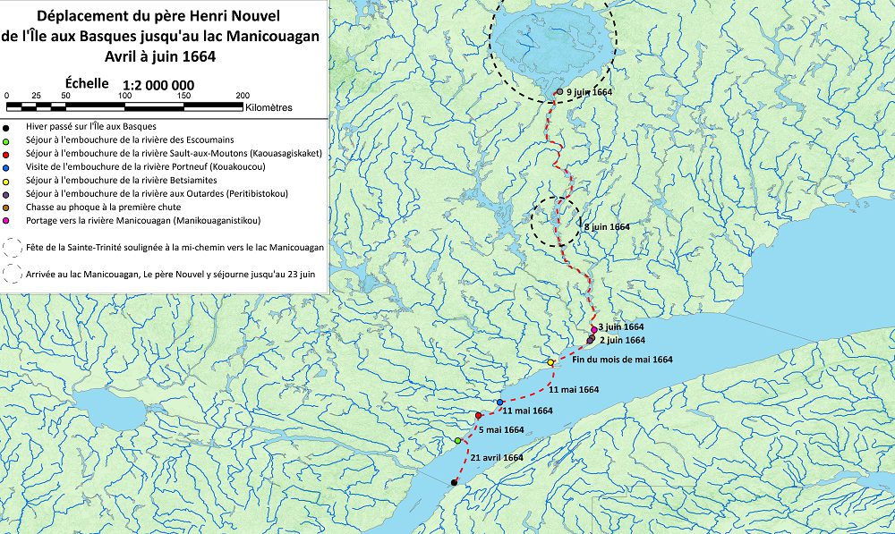 A map of the North Shore detailing Father Henry Nouvel's journey