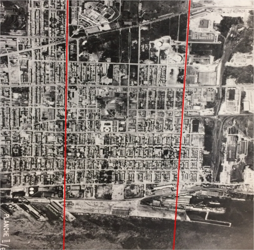 An aerial photograph of a densely populated part of Montreal