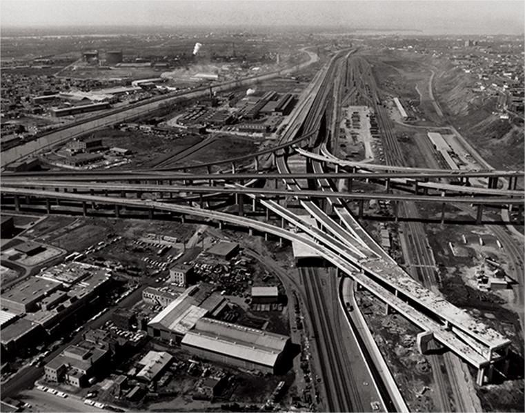 A highway interchange under construction