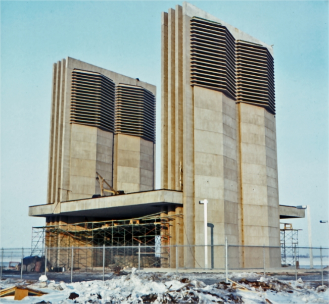 Ventilation towers under construction