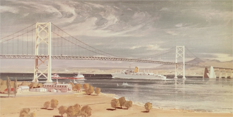 A sketch of a bridge with a boat passing under it and a building in the background