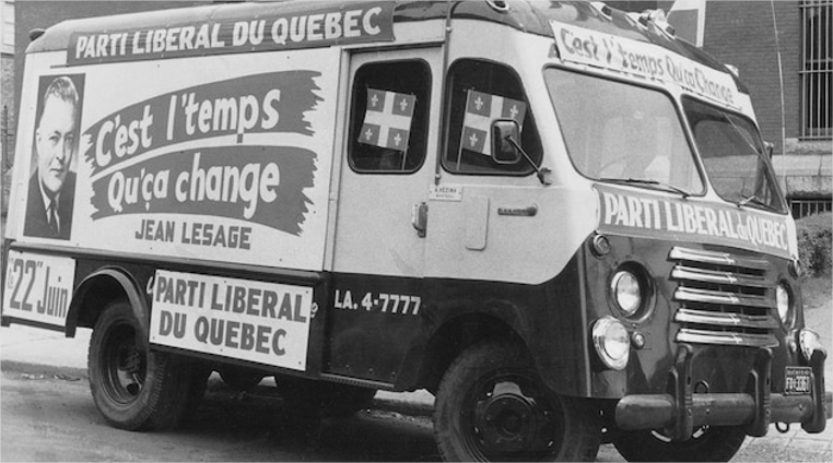 Vehicle featuring political slogans