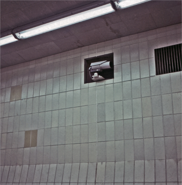 A security camera in a tunnel