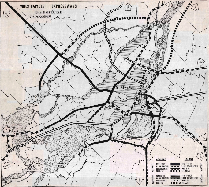 A contract showing the paths of Montreal's highways