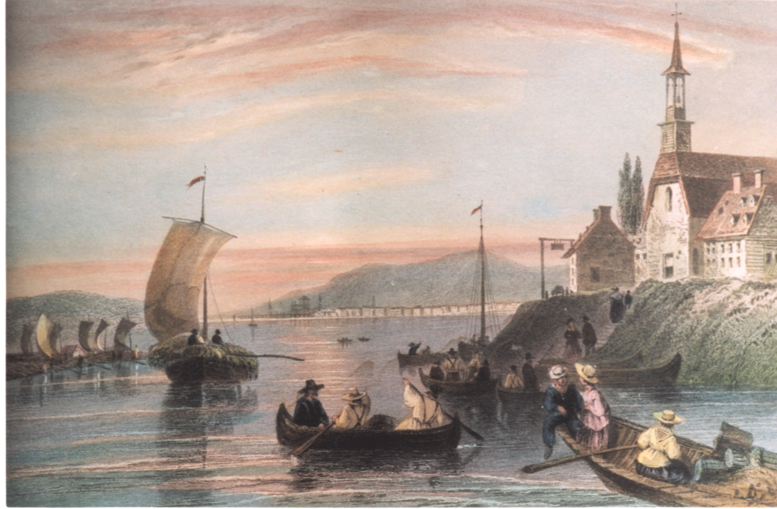 Painting of people in rowboats near a town on a headland, 1839