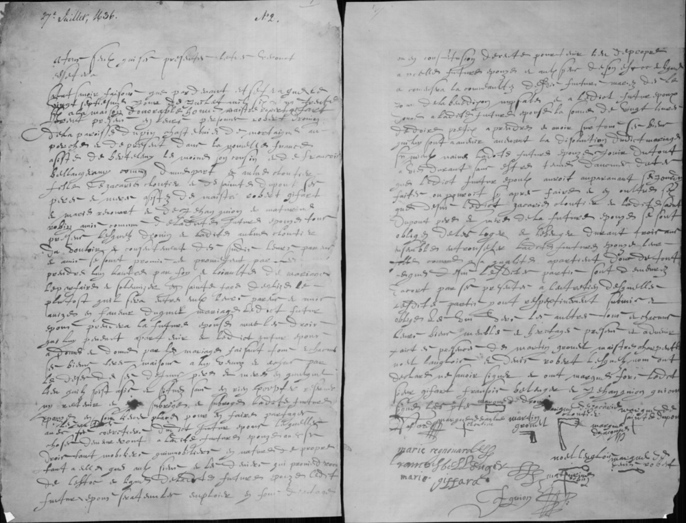 Black and white archival document on two hand-penned pages describing the marriage contract between Anne Cloutier and Robert Drouin. There are several signatures and marks on the bottom of the second page.