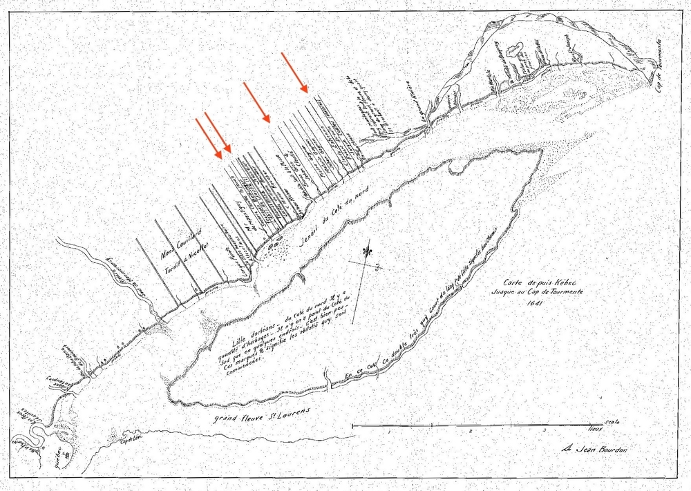Black and white archival map showing Côte-de-Beaupré, the St. Lawrence River, and Île d'Orléans. It illustrates bodies of water, identified by name, as well as land use as shown by the presence of lots—long, horizontal strips of land perpendicular to the river bearing their owners' names.