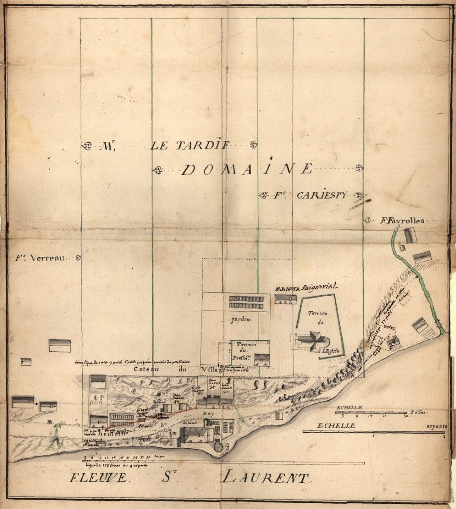 Archival ink drawing showing a plan view of the heart of the village of Château-Richer. From bottom to top, we can see the St. Lawrence River, the shoreline, Chemin du Roy, the hillside, and the plateau. The drawing features all the land and buildings in the village, including the convent, windmill, presbytery, seigneurial manor, church, and the villagers' homes.