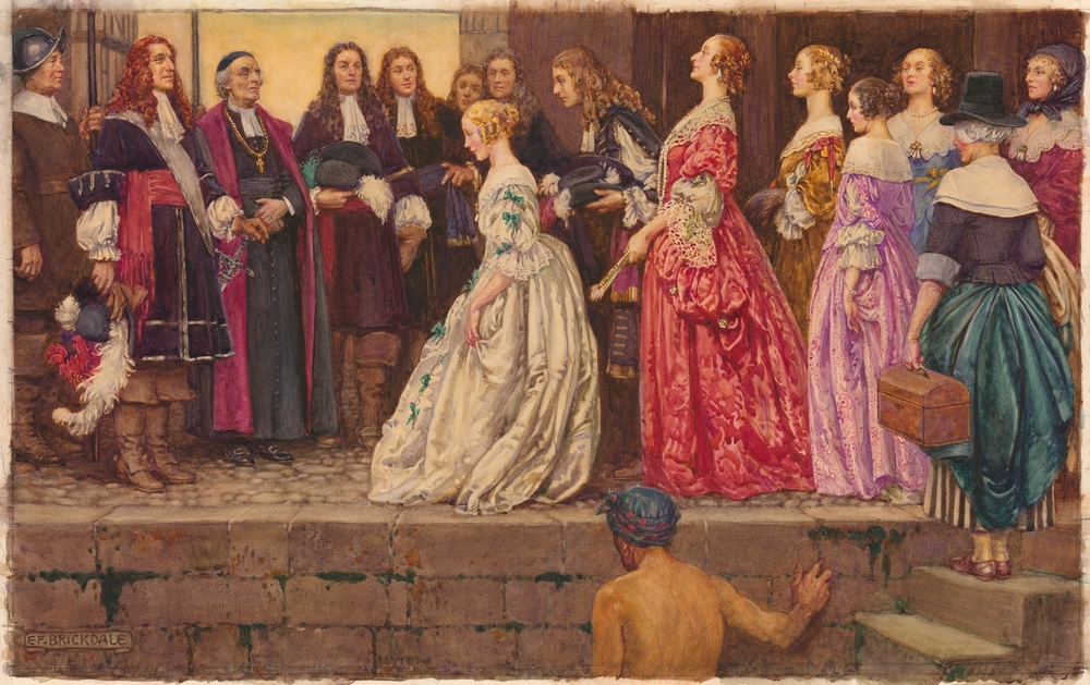 Colour reproduction of a watercolour showing seven women dressed in colourful frocks disembarking. The women are seen in profile on the right half of the painting, and are facing two men wearing official dress. The woman at the front of the group is curtseying before them. The first of the two men, Jean Talon, is decked in finery. He has a sword tucked in his belt, and is wearing a wig and holding a large, feather-adorned hat. The other man, François de Laval, is wearing a prelate's robe and a burgundy stole. Around his neck is a large golden cross. The other figures in the scene include several bewigged gentlemen and a soldier. In the foreground stands the stone wall of a wharf and the lowers steps of a stone staircase.
