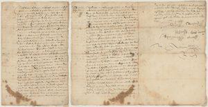 Document d'archives manuscrit sur trois pages décrivant l'octroi par bail d'une terre à Claude Bouchard par Olivier Letardif. Le texte rédigé à la plume se termine par de nombreuses signatures. Le papier est jauni et taché par endroits.