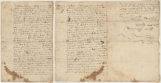 Three-page archival manuscript document describing the lease of a land concession to Claude Bouchard by Olivier Letardif. The text, penned in ink, contains a number of signatures at the bottom. The paper itself is yellowed and stained in places.