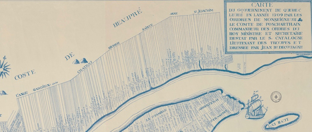 Archival map showing part of Côte-de-Beaupré (L'Ange-Gardien, Château-Richer, and Sainte-Anne-de-Beaupré) and how the land was divided up into long rectangular strips perpendicular to the St. Lawrence River. Each strip of land bears its owner's name.